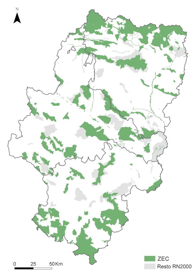 Mapa de Zonas de Especial Conservación (ZEC) en Aragón
