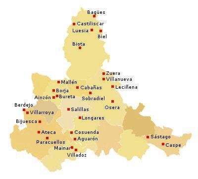 Mapa Provincia De Zaragoza.Restauraciones Del Patrimonio Arquitectonico En Provincia De