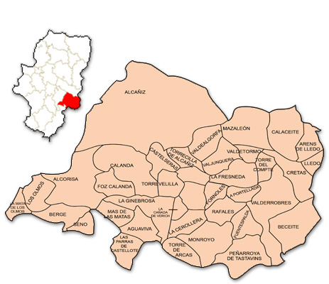 Mapa de Aragón señalado con la zona de actuación de OMEZYMA