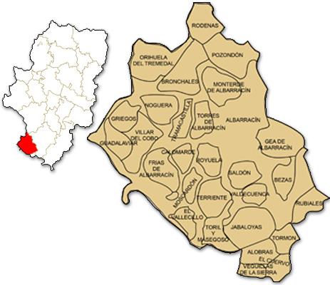 Mapa de Aragón señalado con la zona de actuación de ASIADER