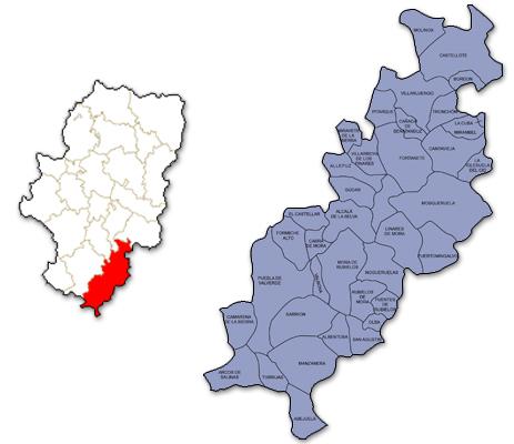 Mapa de Aragón señalado con la zona de actuación de AGUJAMA