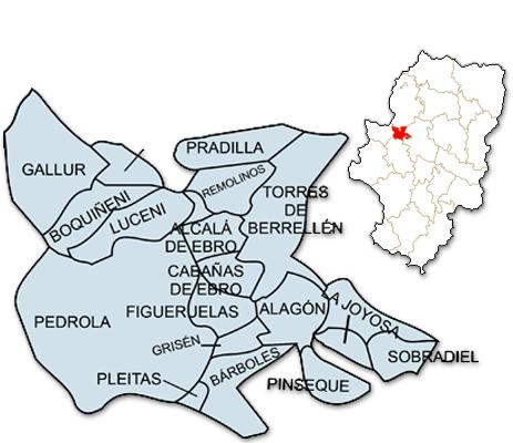 Mapa de Aragón señalado con la zona de actuación de ADRAE