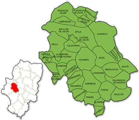 Mapa de Aragón señalado con la zona de actuación de FEDIVALCA