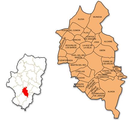 Mapa de Aragón señalado con la zona de actuación de OFYCUMI