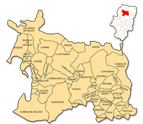 Mapa de Aragón señalado con la zona de actuación de ADESHO
