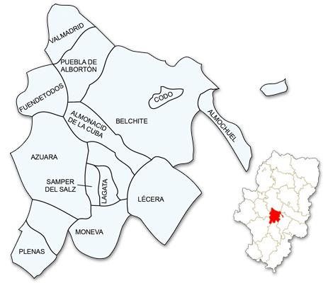Mapa de Aragón señalado con la zona de actuación de ADECOBEL