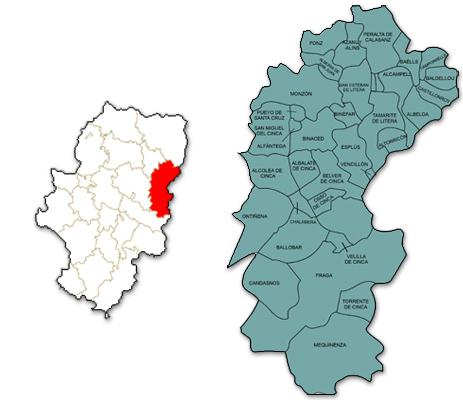 Mapa de Aragón señalado con la zona de actuación de CEDER Zona Oriental Huesca
