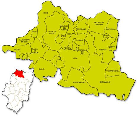 Mapa de Aragón señalado con la zona de actuación de ADECUARA