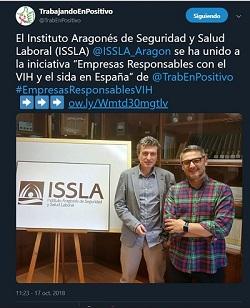 Pantallazo de un tuit de un tuit del usuario Trabajando en Positivo, en el que informan de la adhesión del ISSLA a la iniciativa.