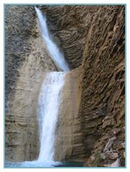 Barranco D'os Lucás, donde se ve una pequeña cascada. Río Gallego