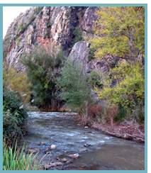 Tramo meandriforme del Río Jalón en el municipio de Purroy,Comarca de Calatayud.
