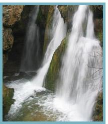 Imagen del Salto de Calomarde en el Río de la Fuente del Berro, afluente del Río Guadalaviar