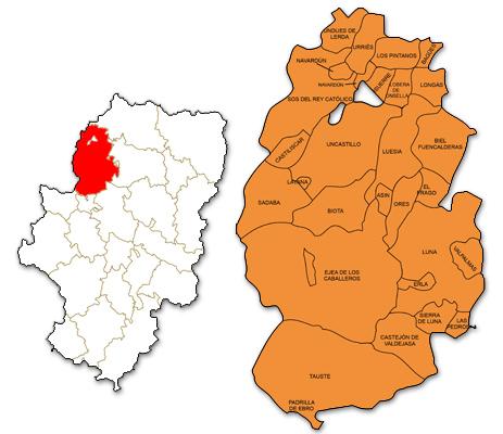 Mapa de Aragón señalado con la zona de actuación de ADEFO