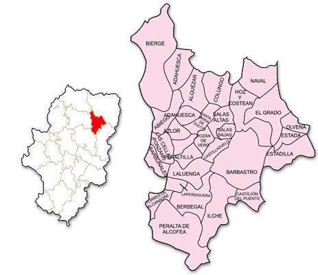 Mapa de Aragón señalado con la zona de actuación de CEDER Somontano