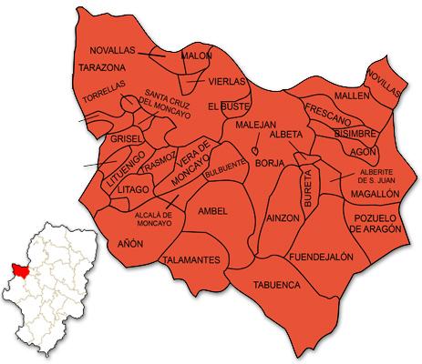 Mapa de Aragón señalado con la zona de actuación de ASOMO