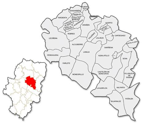 Mapa de la zona de actuación de CEDER