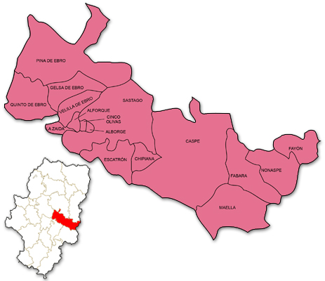 Mapa de Aragón señalado con la zona de actuación de CEDEMAR