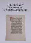Portada IV Jornadas de Archivos Aragoneses
