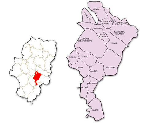 Mapa de Aragón señalado con la zona de actuación de ADIBAMA