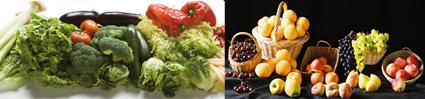 Dos imágenes que muestran diferentes frutas y hortalizas