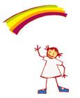 Dibujo de una niña y un Arco Iris