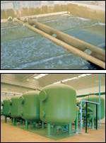 Imagen de unas balsas y unos filtros donde se produce el proceso de filtración.