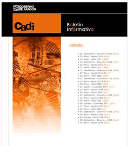 Página con el listado de enlaces a los números anteriores del boletín digital