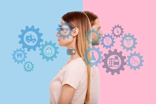 Una mujer y un hombre espalda con espalda. La mujer está en fondo azul y el hombre en fondo rosa. Hay símbolos relacionados con el ámbito de la salud