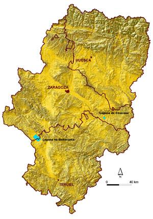 Mapa de Aragón donde vienen marcadas La Laguna de Gallocanta y La Salada de Chiprana