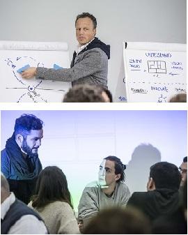 Patrick Van Der Pijl delante de una pizarra. En otra imagen, Pablo Riquelme hablando a un grupo de personas.