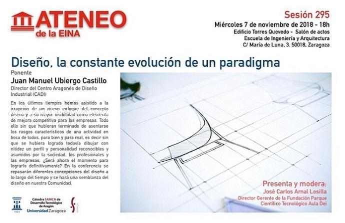 Cartel Ateneo de la EINA sesión 295. Ponencia de Juan Manuel Ubiergo Castillo el 7/11/2018. Más información en el enlace precedente.
